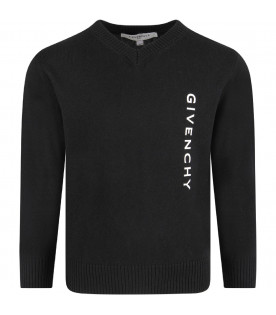 GIVENCHY KIDS Black kids sweater with white logo