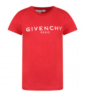 Red kids T-shirt with white logo