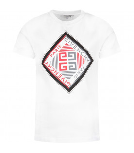 White boy T-shirt with red and black logo