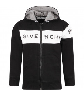 GIVENCHY KIDS Black kids sweatshirt with black logo