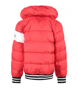 Red boy jacket with black logo