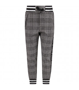 GIVENCHY KIDS Grey and black boy pants with white logo