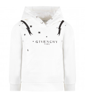 GIVENCHY KIDS White kids sweatshirt with black logo and stars