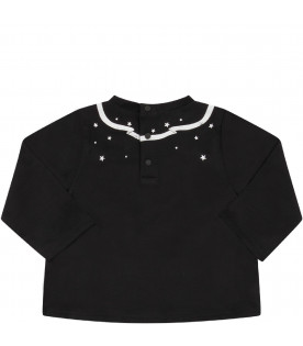 GIVENCHY KIDS Black babyboy T-shirt with white stars and logo