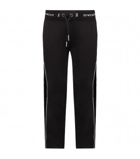 GIVENCHY KIDS Black girl sweatpants with white logo