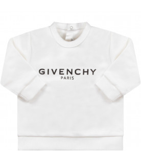 GIVENCHY KIDS White babykids sweatshirt with black logo