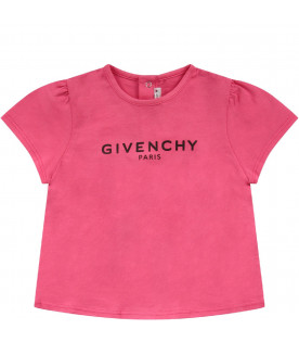 GIVENCHY KIDS Fucshia babygirl T-shirt with black logo