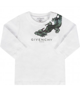 GIVENCHY KIDS White babyboy T-shirt with green logo and dragon