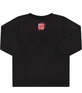 GIVENCHY KIDS Black babyboy T-shirt with colorful lion and red logo