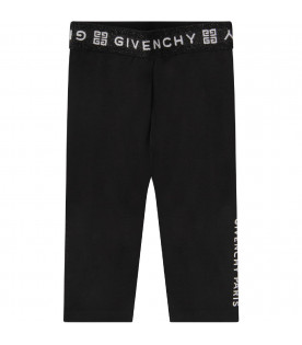 GIVENCHY KIDS Black babygirl leggings with white logo