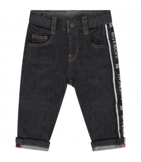 GIVENCHY KIDS Denim babyboy jeans with white logo