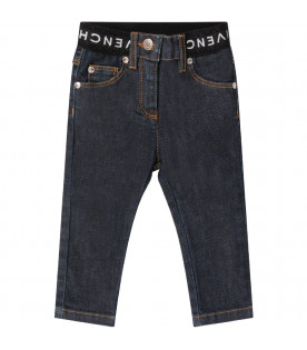 GIVENCHY KIDS Denim babygirl jeans with white logo