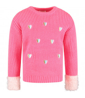 BILLIEBLUSH Neon fuchsia girl sweater with embroideried heart