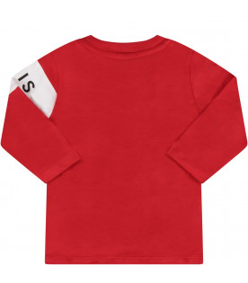 GIVENCHY KIDS Red babyboy T-shirt with black logo