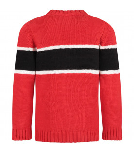 Red kids sweater with white logo