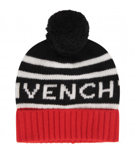 Black, white and red kids hat with white logo