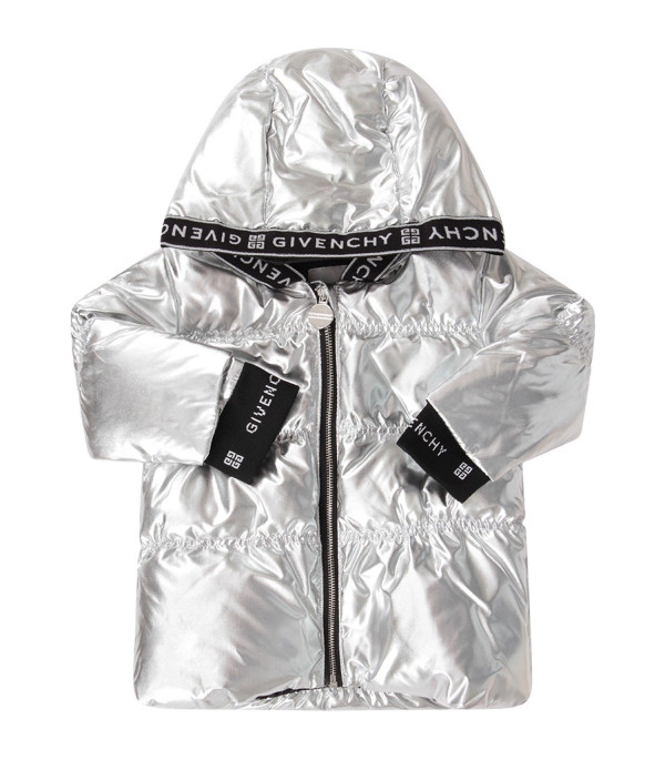 GIVENCHY KIDS Silver babygirl jacket with white logo