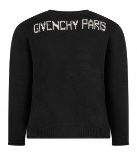 GIVENCHY KIDS Black kids sweater with white vintage logo