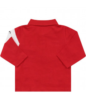 GIVENCHY KIDS Red boy polo shirt with black logo