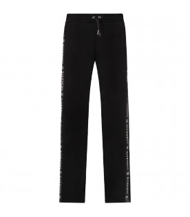 GIVENCHY KIDS Black girl sweatpants with white logo and stripes