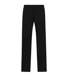 Black girl sweatpants with white logo and stripes