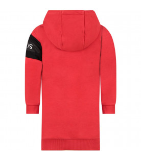 GIVENCHY KIDS Red girl dress with white logo