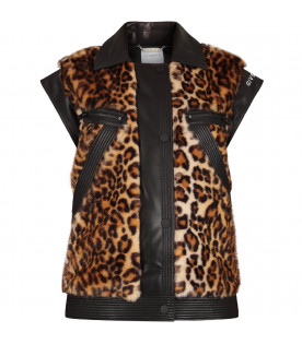 GIVENCHY KIDS Gilet nero per bambina con stampa animalier
