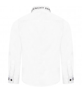 GIVENCHY KIDS White boy shirt with black logo