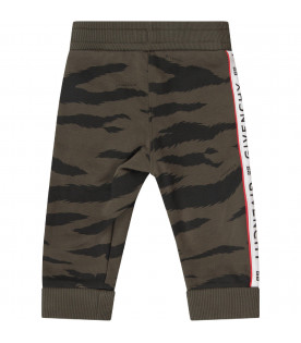 GIVENCHY KIDS Green babyboy sweatpants with black logo