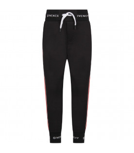 GIVENCHY KIDS Black boy sweatpants with white logo and red stripes