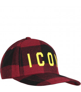 Red and black boy hat with yellow ''Icon'' writing