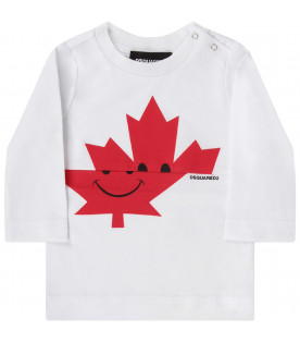 DSQUARED2 White babyboy t-shirt with red leaf and logo