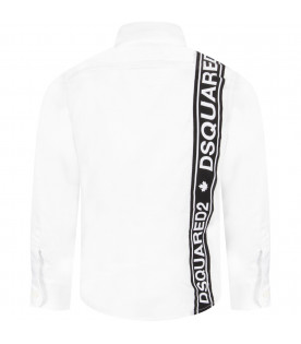 DSQUARED2 White boy shirt with white logo