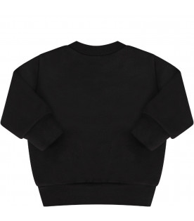 DSQUARED2 Black babyboy sweatshirt with red leaf and logo