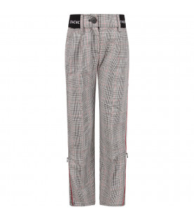 Black and white girl pants with white logo