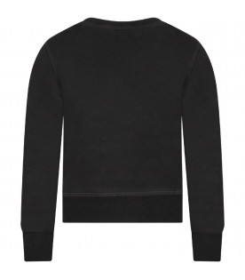DSQUARED2 Black boy sweatshirt with red leaf and logo