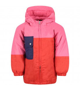 MARNI KIDS Pink and red  girl dress with blue pocket