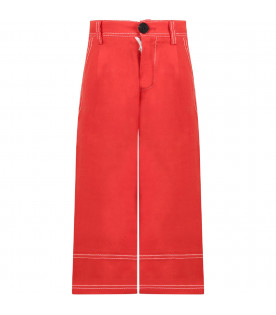 MARNI KIDS Red girl pants with white details