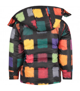 MARNI KIDS Black girl jaacket with colorful squares