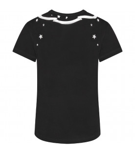 GIVENCHY KIDS Black boy T-shirt with white stars and logo