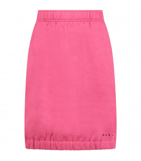 MARNI KIDS Pink girl skirt with blue logo