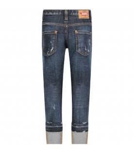 Denim boy jeans with white logo