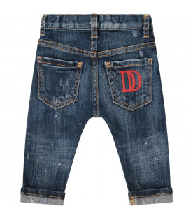 Denim light blue babyboy jeans with red double DD