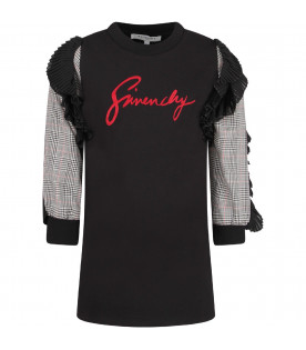 GIVENCHY KIDS Black girl dress with red logo