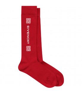 Red kids socks with white logo