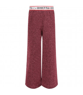 VIVETTA KIDS Fucshia girl pants with black logo