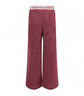 Fucshia girl pants with black logo