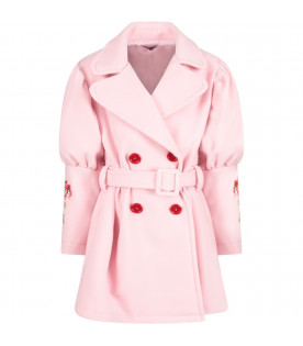 VIVETTA KIDS Pink girl coat with colorful flowers