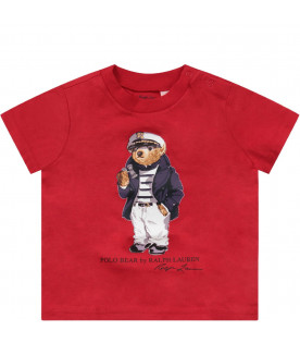 RALPH LAUREN KIDS Red babyboy T-shirt with iconic bear