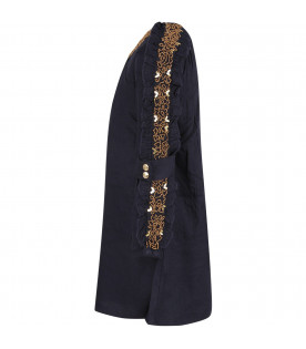 CHLOÉ KIDS Blue girl dress with gold pearls